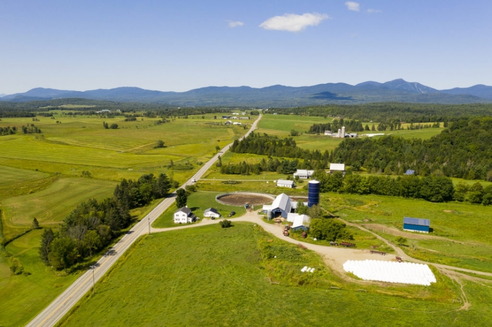 An aerial view of the Marquis Organic Dairy in Newport, Vermont. Courtesy of Caleb Kenna